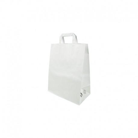 Sacs cabas kraft avec poignées plates Blanc