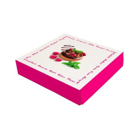 Boîtes pâtissières framboisine - 25 x 25 x 8 cm