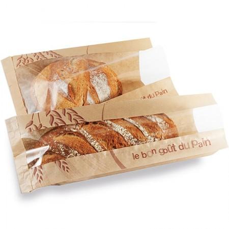 Sacs traditionnels pains spéciaux à fenêtre, 140/25+25x400 mm