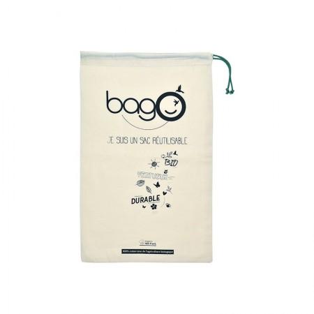 """Sacs bagO """"Coton"""" Coton biologique Naturel certifié GOTS, 260x400 mm / Taille S / Cordelette Verte"""