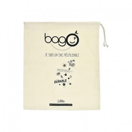"""Sacs bagO """"Coton"""" Coton biologique Naturel certifié GOTS, 310x360 mm / Taille M / Cordelette Naturelle"""
