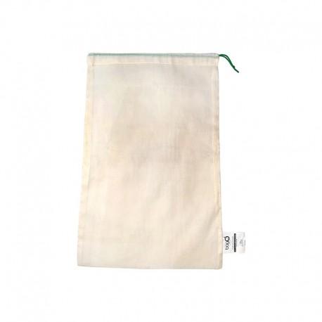 """Sacs bagO """"Coton"""" Coton biologique Naturel, 260x400 mm / Taille S / Cordelette Verte"""