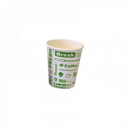 Gobelets carton Hot or Fresh - fibres vierges Blanc/Vert 25 cl