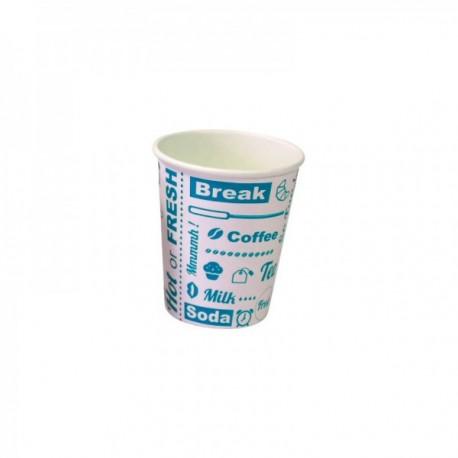Gobelets carton Hot or Fresh - fibres vierges Blanc/Bleu 35 cl