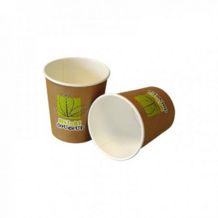 Gobelets carton Instant Douceur - fibres vierges Brun/Noir/Vert 10 cl