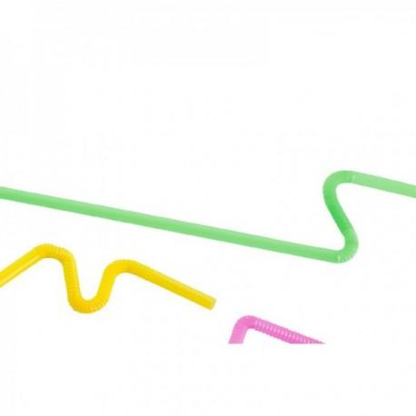 Pailles flexibles PP Fluo multicolores